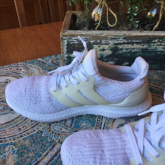 Adidas Ultra Boost athletic shoes, white 8